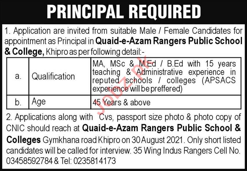 Quaid e Azam Rangers Public School & College Khipro Jobs