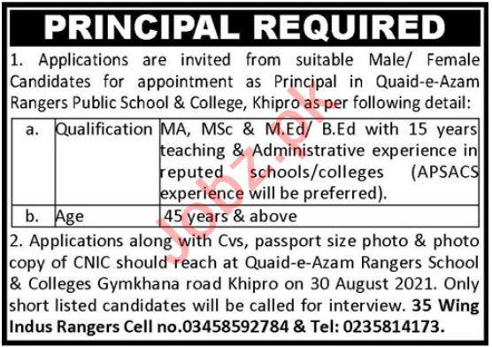 Quaid e Azam Rangers Public School & College Jobs 2021