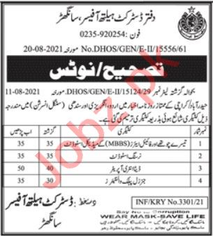 District Health Officer DHO Sanghar Jobs 2021 for Doctors
