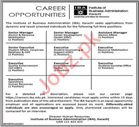 IBA Institute Karachi Jobs 2021 for Manager & Executive