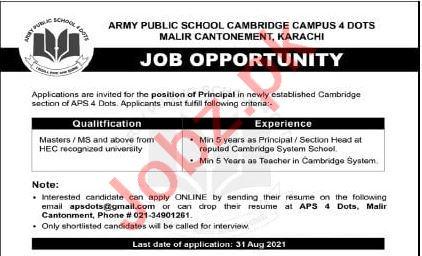 Army Public School APS Cambridge Campus Malir Jobs 2021