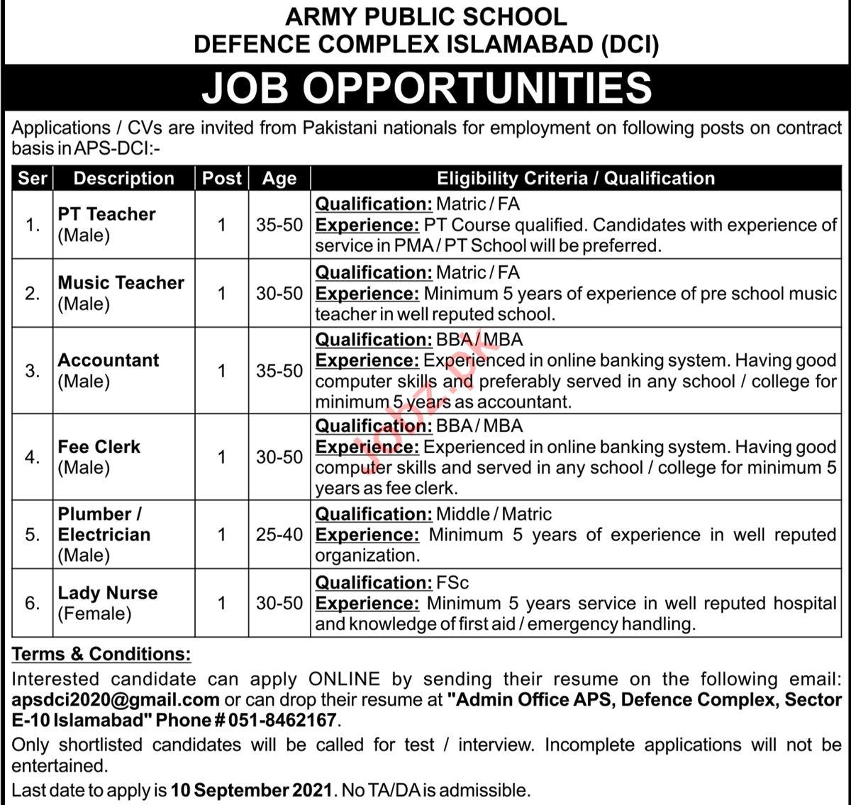 Army Public School APS DCI Defence Complex Islamabad Jobs