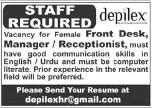 Depilex Beauty Saloon Jobs 2021 For Management Staff