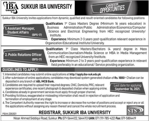 Sukkur IBA University Jobs 2021 for PRO