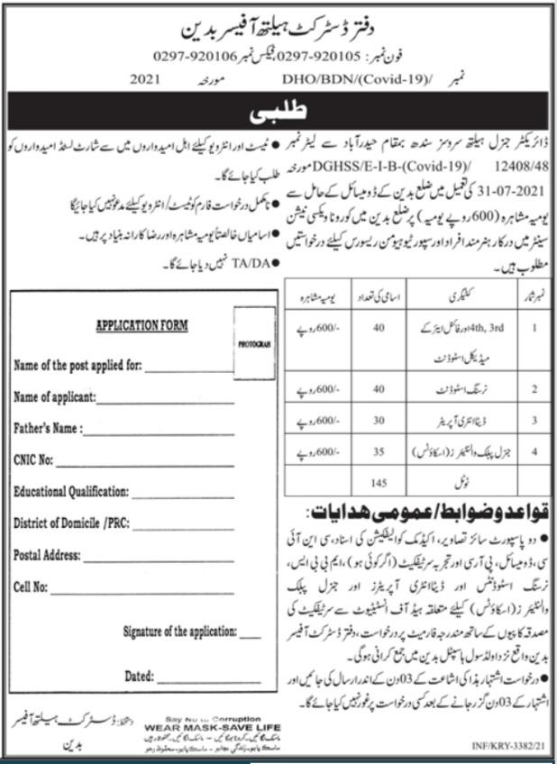District Health Office Jobs 2021 In Badin