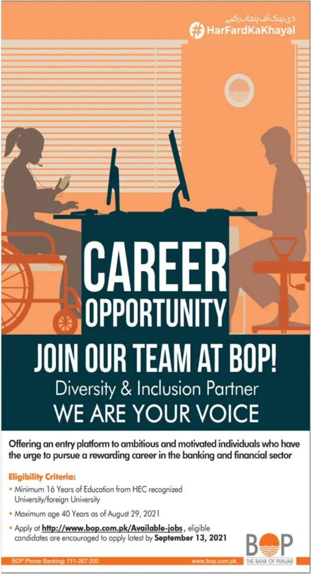 The Bank of Punjab BOP Jobs 2021 For Management Staff