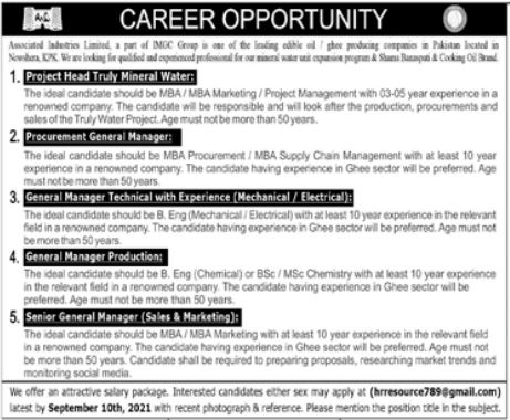 Associate Industries Limited Jobs 2021 in Nowshera