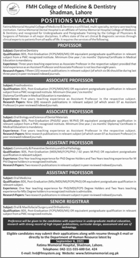 FMH College of Medicine & Dentistry Jobs 2021 In Lahore
