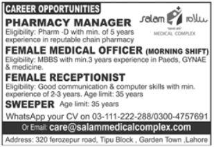 Salam Medical Complex Jobs 2021 In Lahore