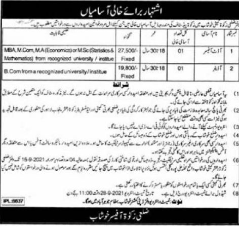 District Zakat Committee Office Jobs 2021 In Khushab