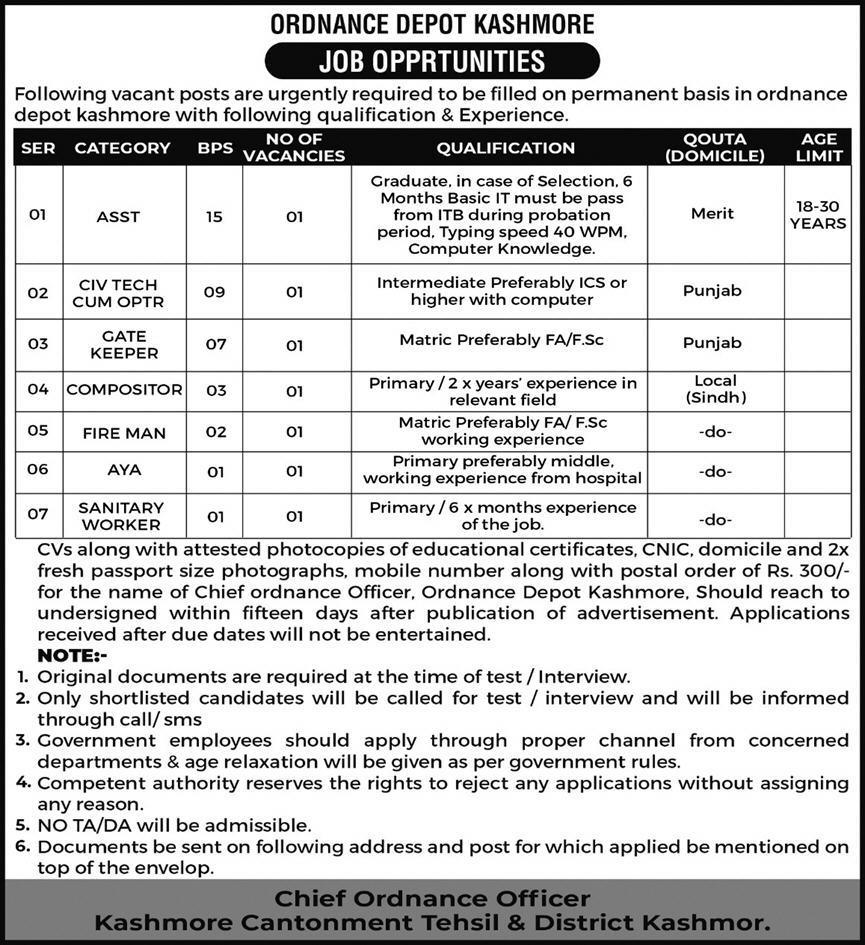 Ordnance Depot Kashmore Management Jobs 2021