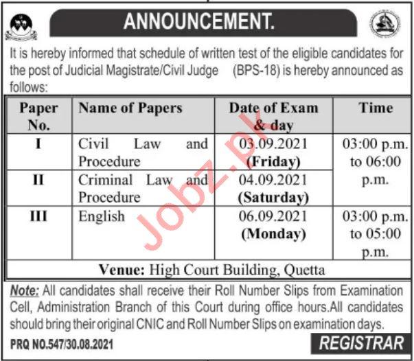 Balochistan High Court BHC Quetta Jobs Test 2021 for Judge