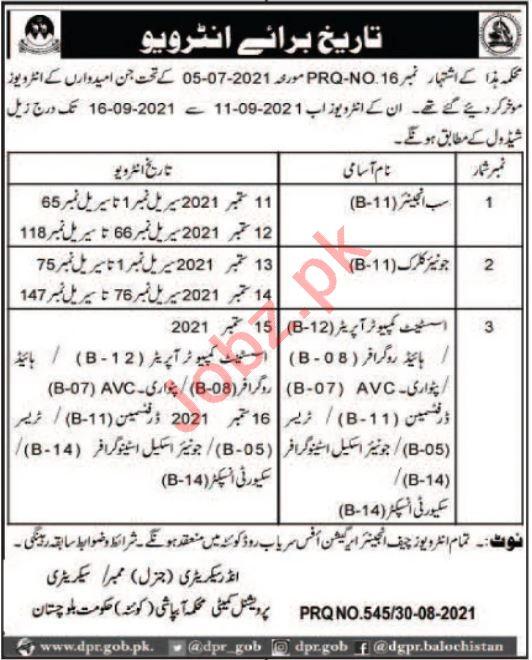 Irrigation Department Quetta Jobs 2021 for Sub Engineer