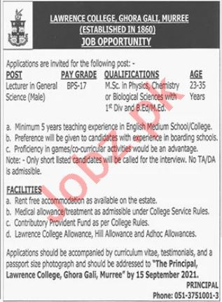 Lecturer Jobs 2021 in Lawrence College Ghora Gali Murree