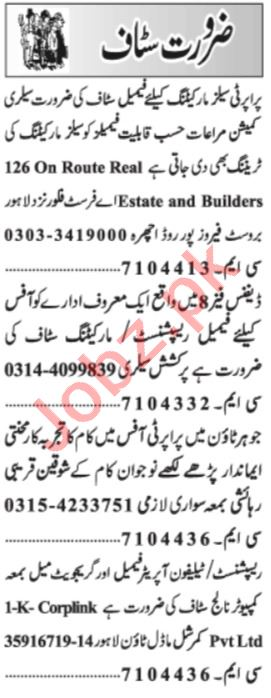 Receptionist & Sales Officer Jobs 2021 in Lahore