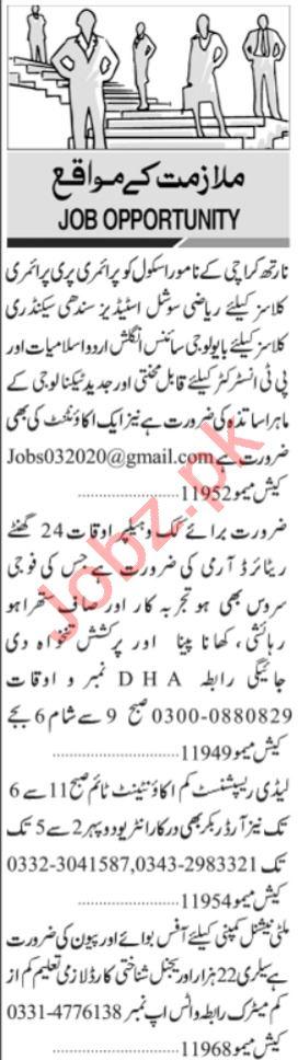 Lady Receptionist & Accountant Jobs 2021 in Karachi