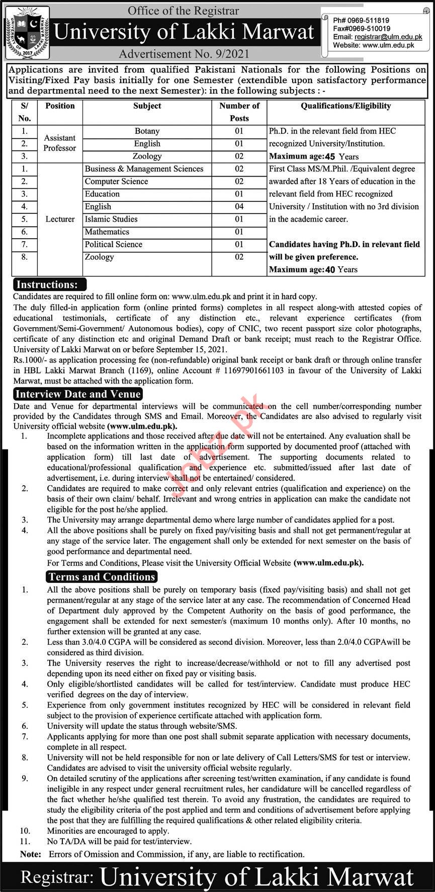 University of Lakki Marwat ULM Jobs 2021 for Professors