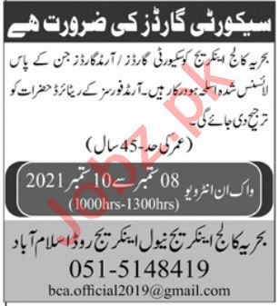 Bahria College Anchorage BCA Islamabad Jobs 2021