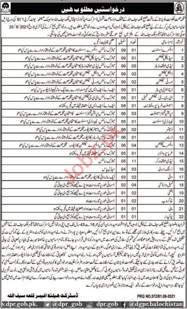 District Headquarter Hospital DHQ Killa Saifullah Jobs 2021