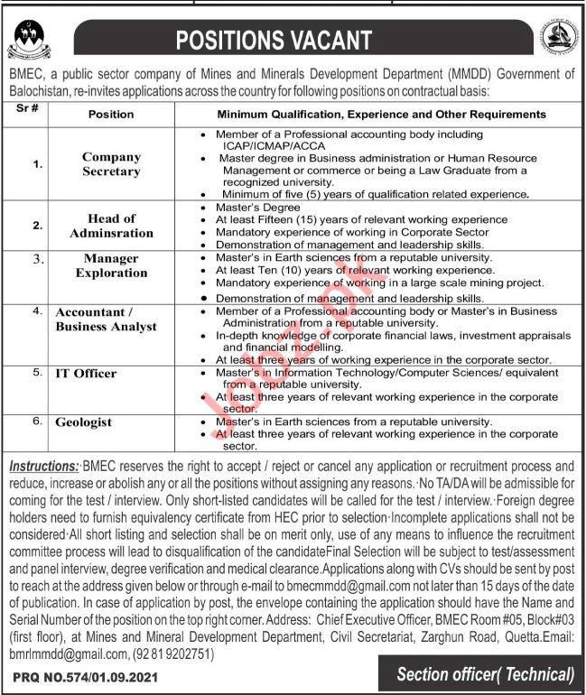 BMEC Mines & Mineral Development Department Quetta Jobs 2021
