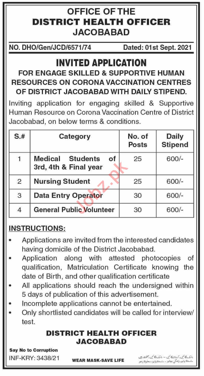 Corona Vaccination Centre CVC Jacobabad Jobs 2021 for Doctor