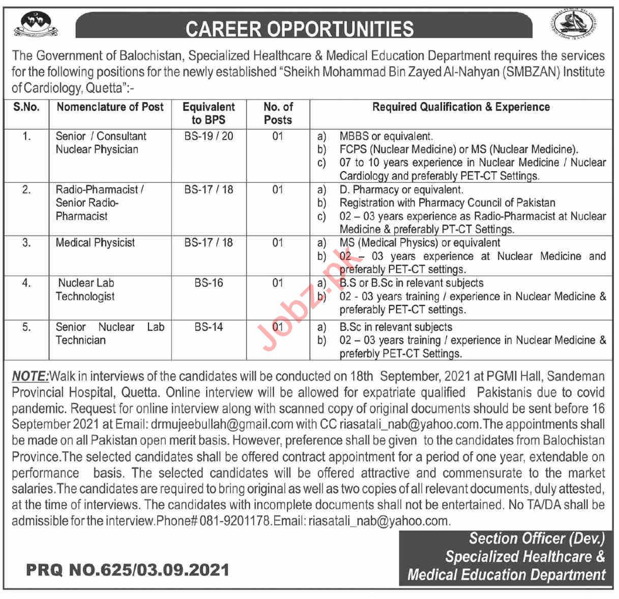 SMBZAN Institute of Cardiology Quetta Jobs 2021 Consultants