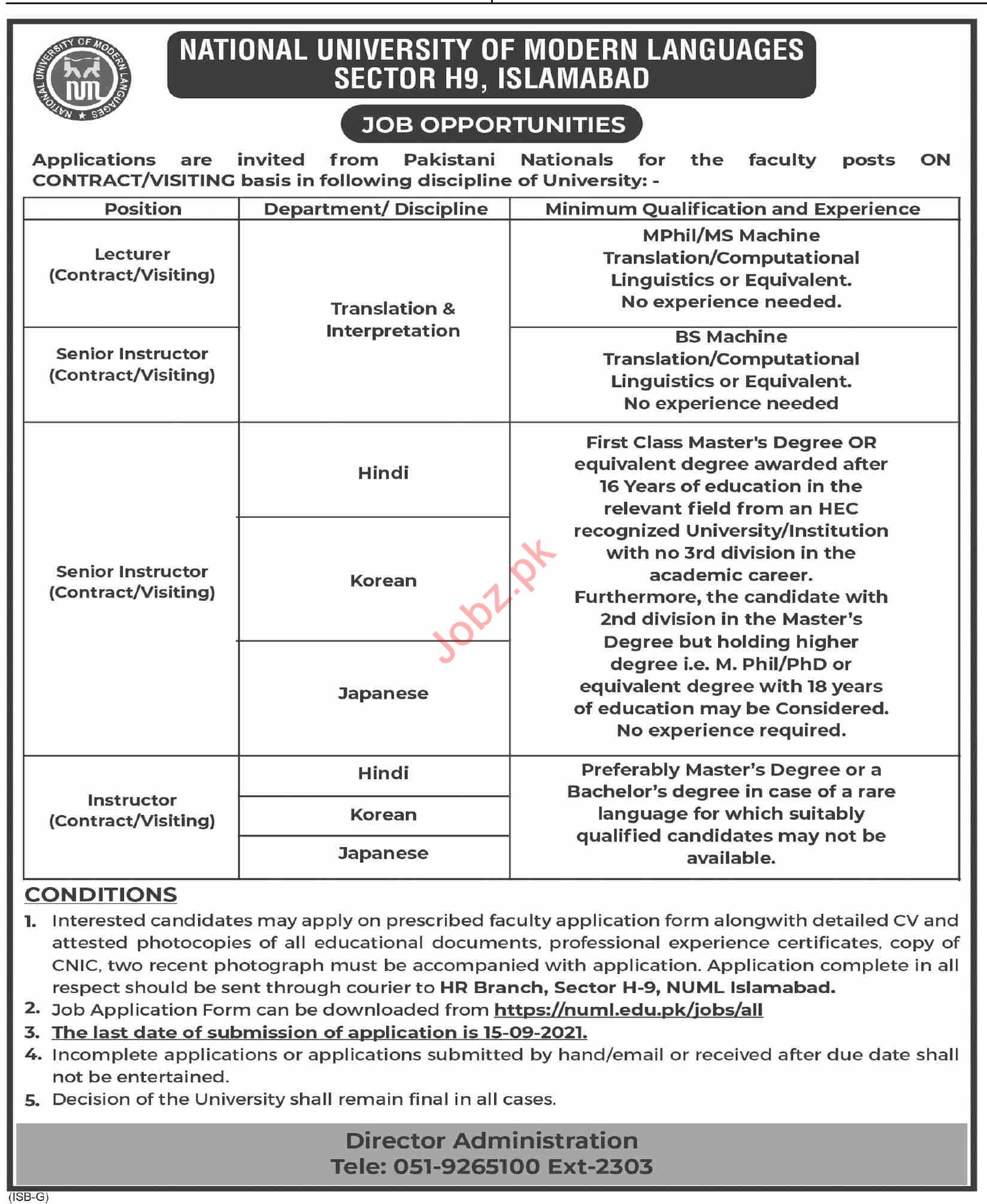 NUML University Islamabad Jobs 2021 for Lecturers