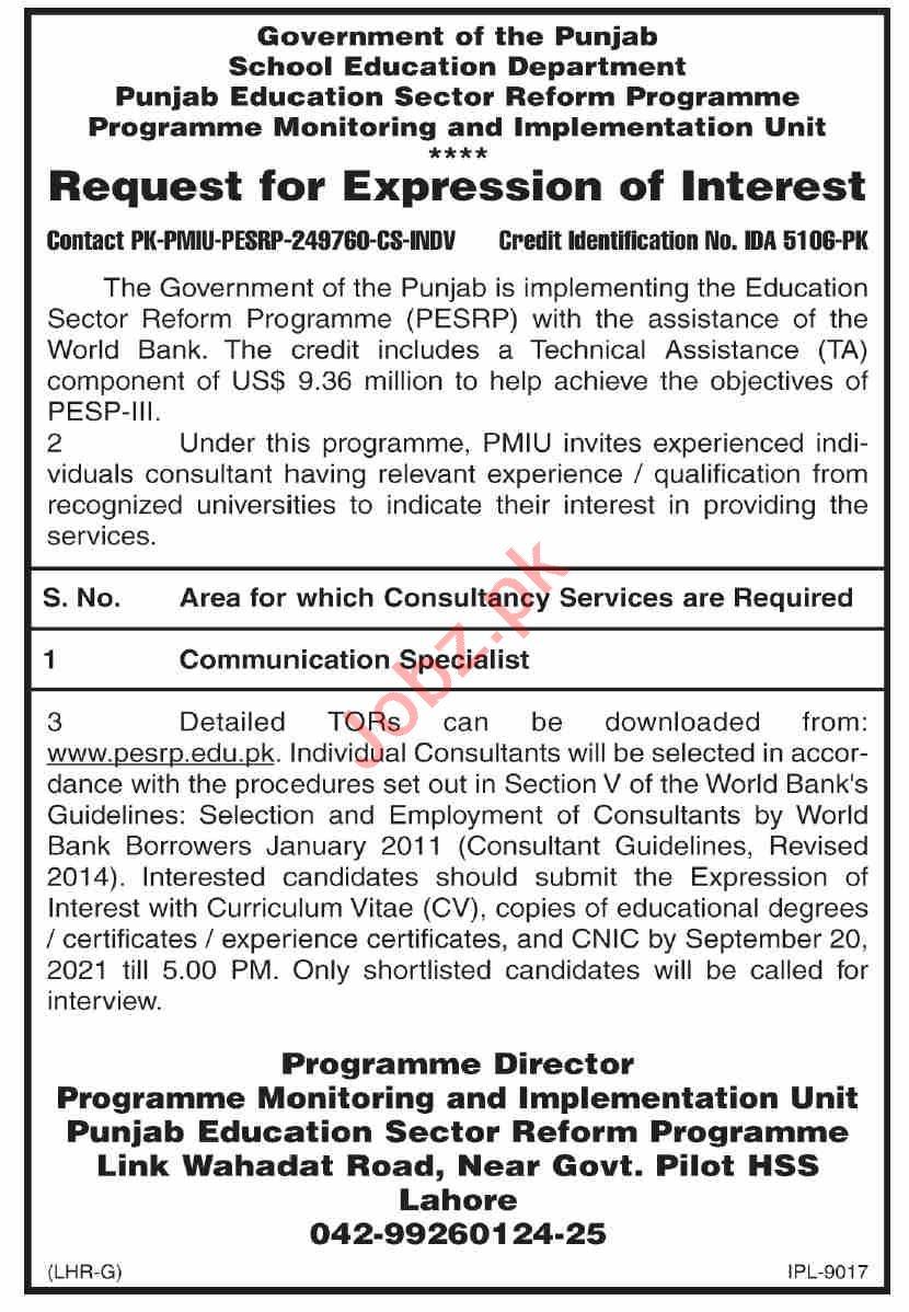 Punjab Education Sector Reform Program Lahore Jobs 2021