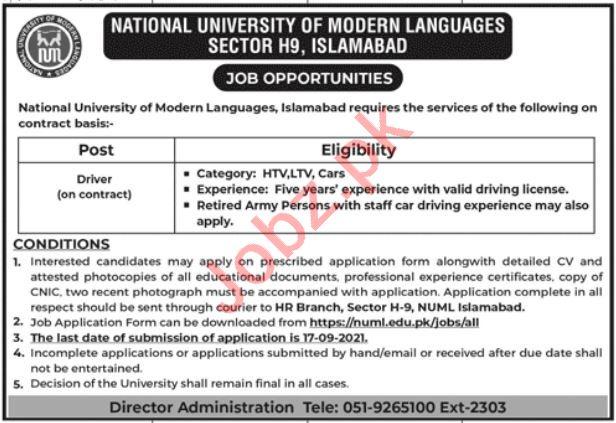 Drivers Jobs 2021 in NUML University Islamabad Jobs 2021