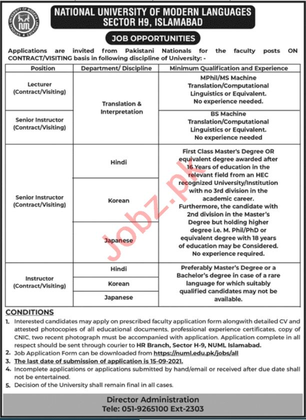 Instructor & Lecturer Jobs 2021 in NUML University Islamabad