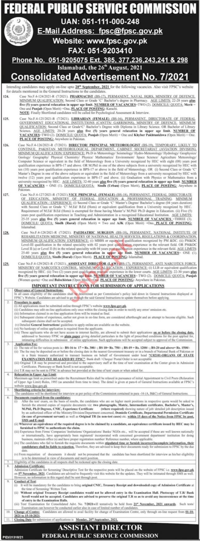 Federal Public Service Commission FPSC September Jobs 2021