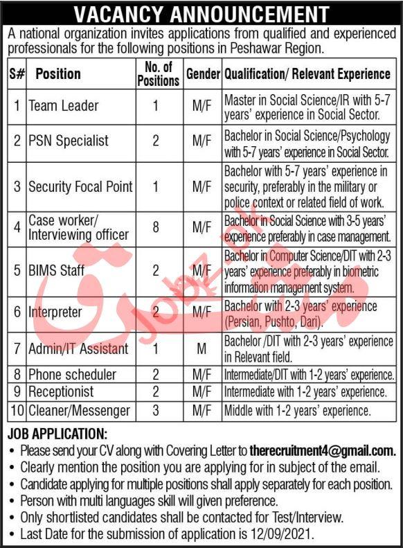 National Organization Jobs 2021 In Peshawar Region
