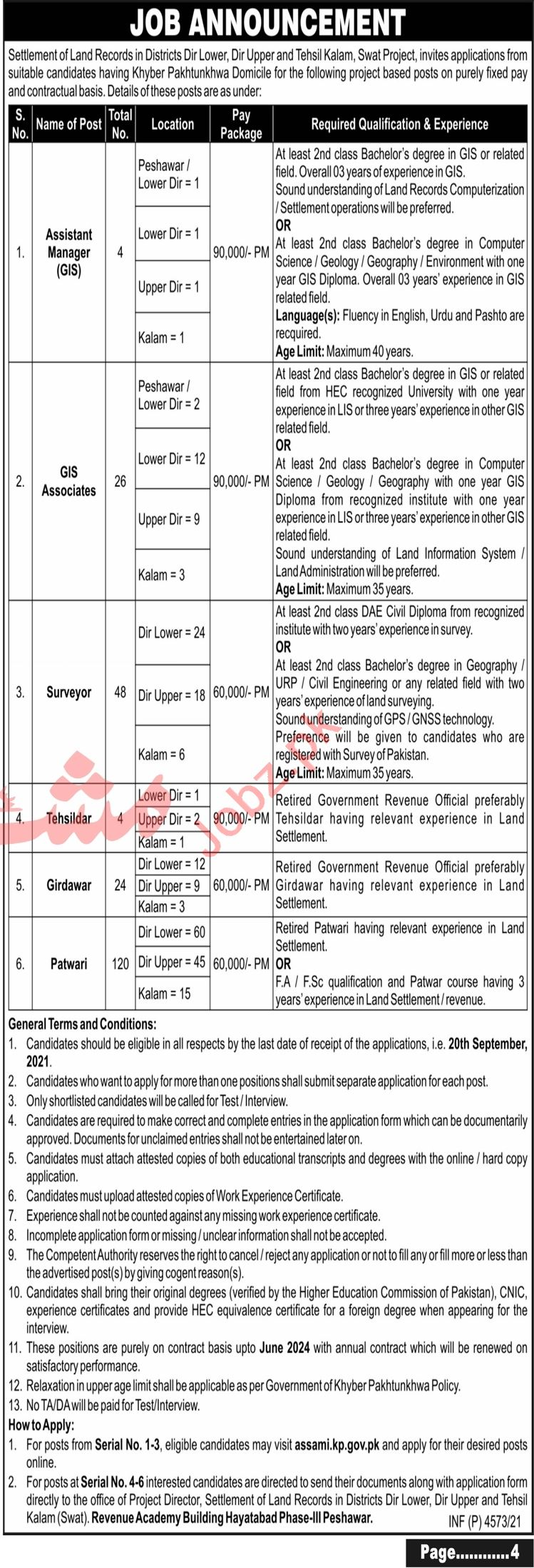 Settlement of Land Records Jobs 2021 For Management Staff
