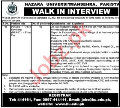 Hazara University Mansehra KPK Job 2021