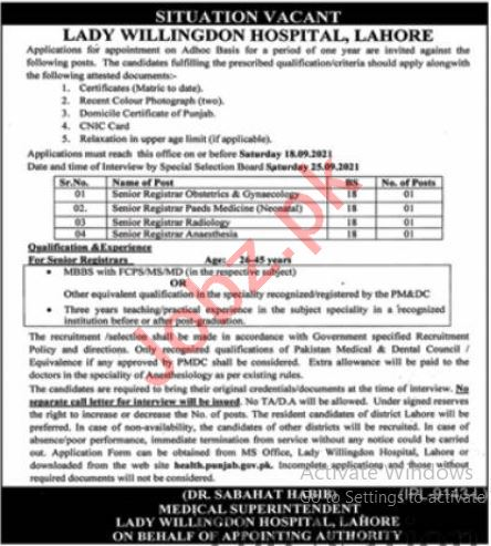 Lady Willingdon Hospital Jobs 2021 In Lahore