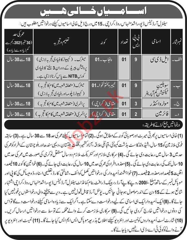 Pak Army Central Ordinance Depot Jobs 2021