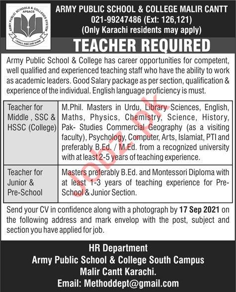 Army Public School & College Malir Cantt Jobs 2021