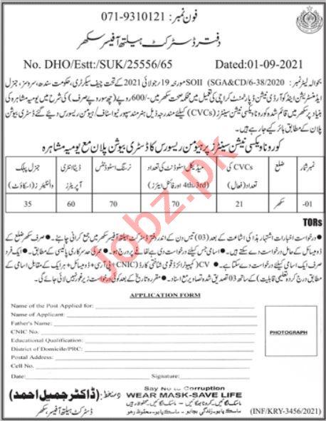District Health Office Jobs 2021 In Sukkur