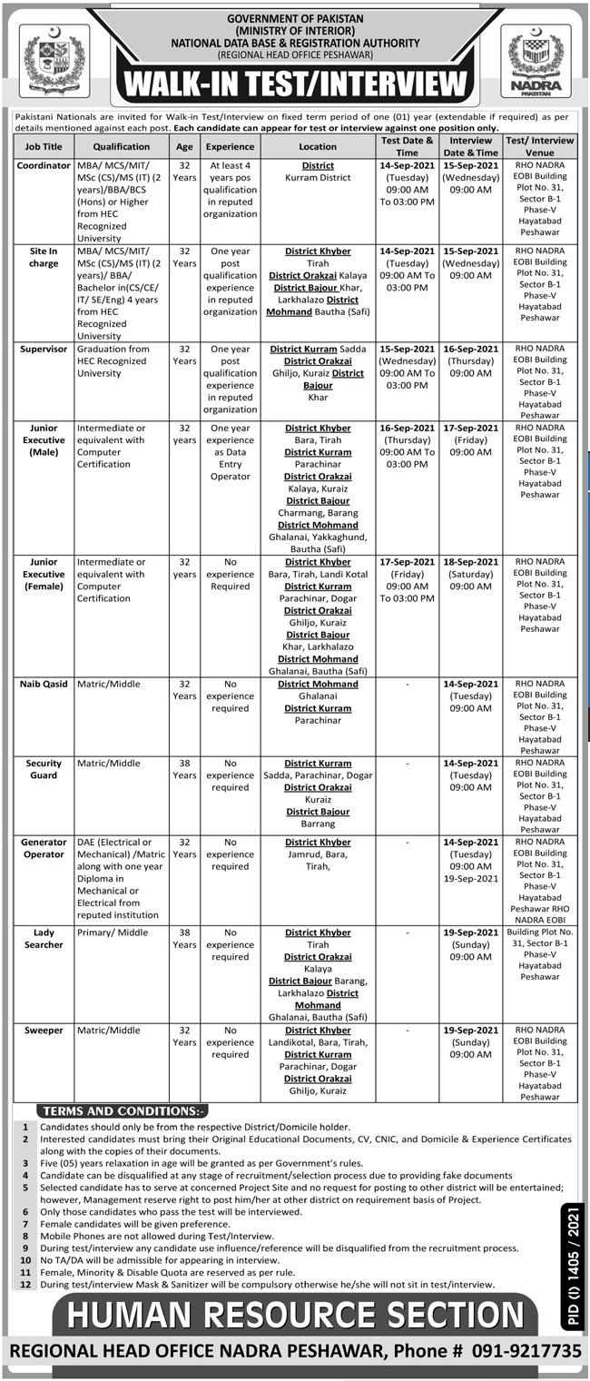 NADRA Peshawar Walk in Test Interview 2021