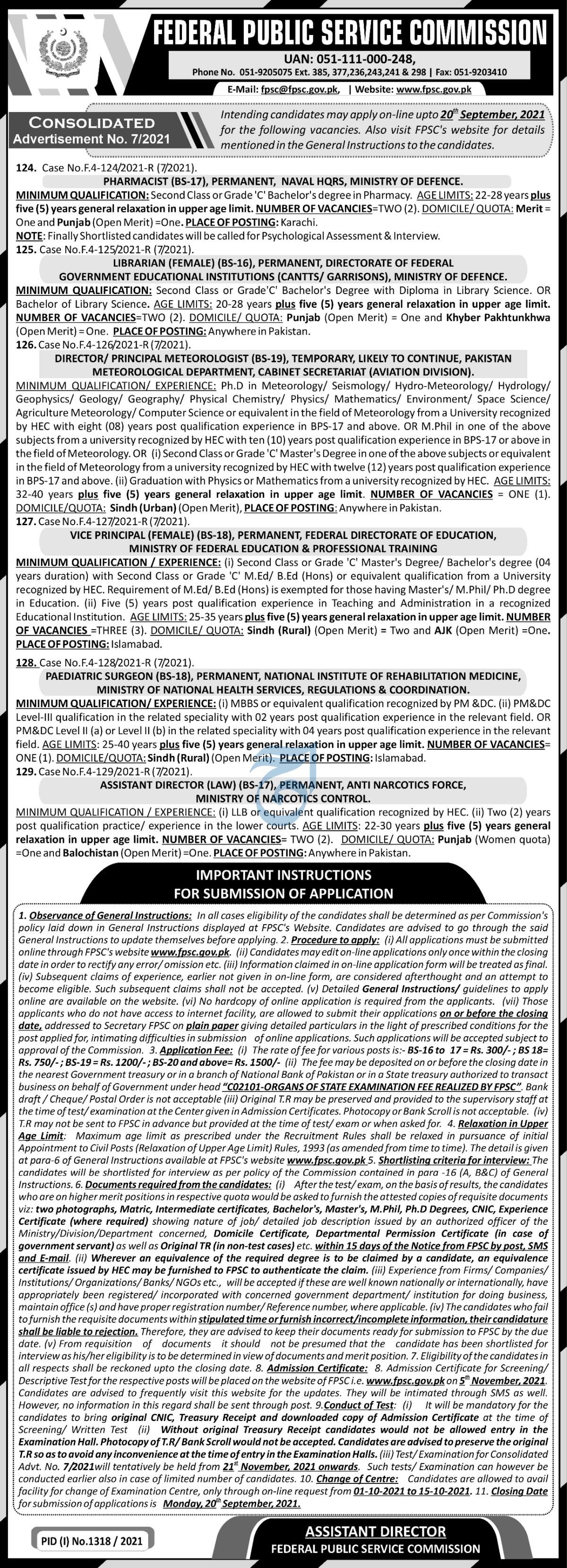 FPSC Islamabad Jobs 2021 September 2021