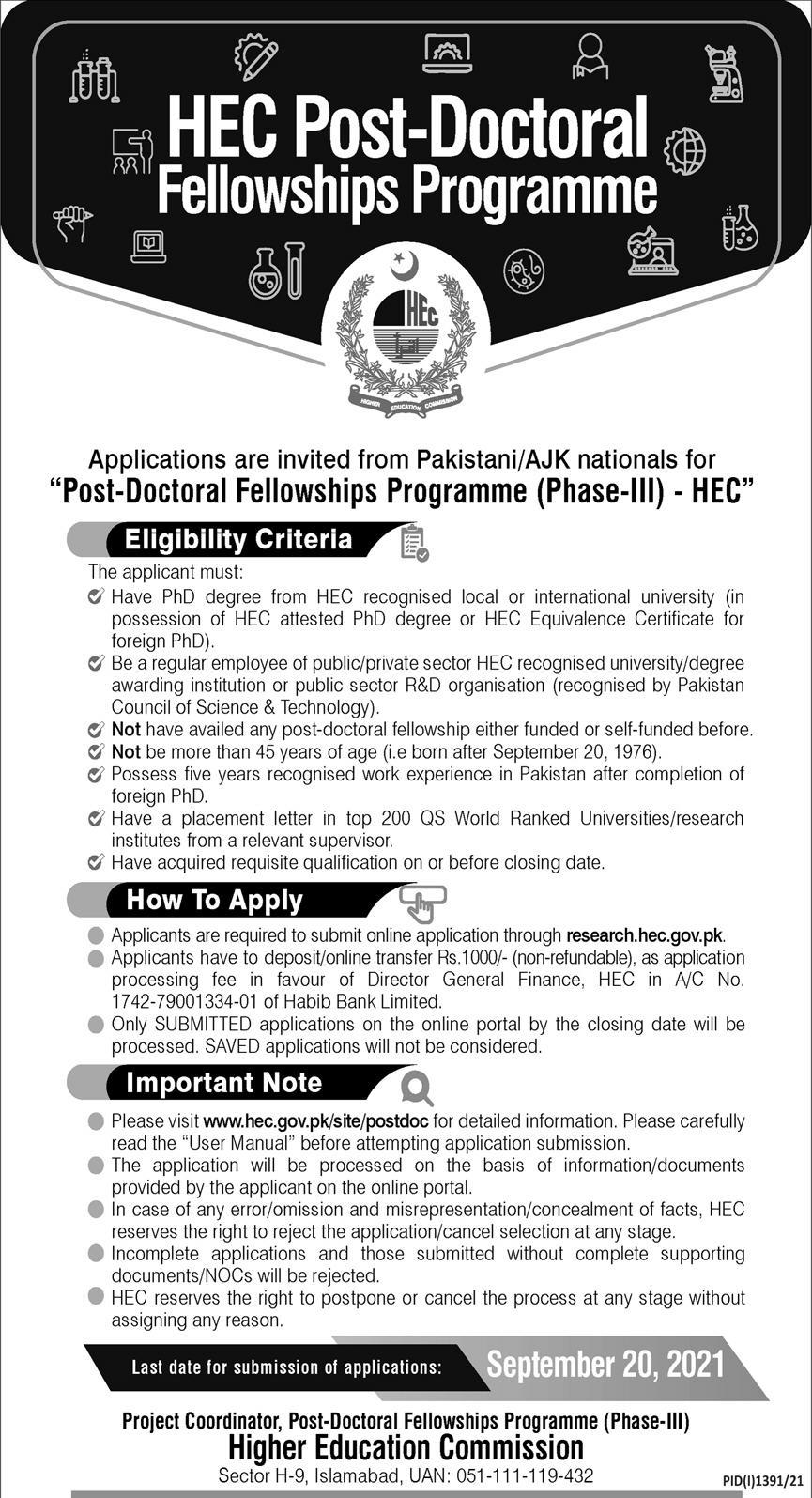 HEC Post Doctoral Fellowships Program 2021