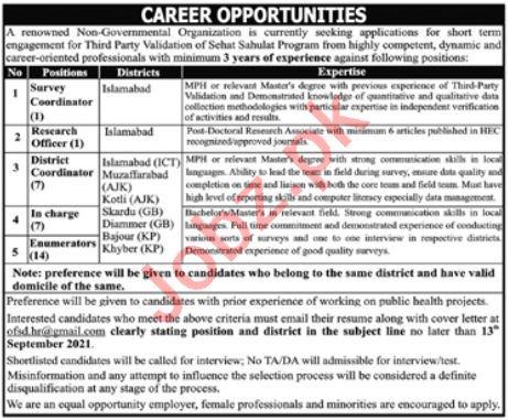 Non Governmental Organization NGO Jobs 2021
