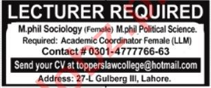 Toppers Law College Jobs 2021 In Lahore