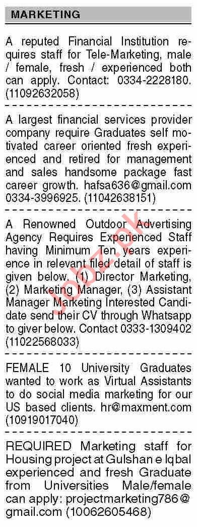 Dawn Sunday Classified Ads 5th Sep 2021 for Marketing Staff