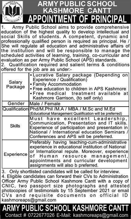 Army Public School Kashmore Cantt Jobs 2021