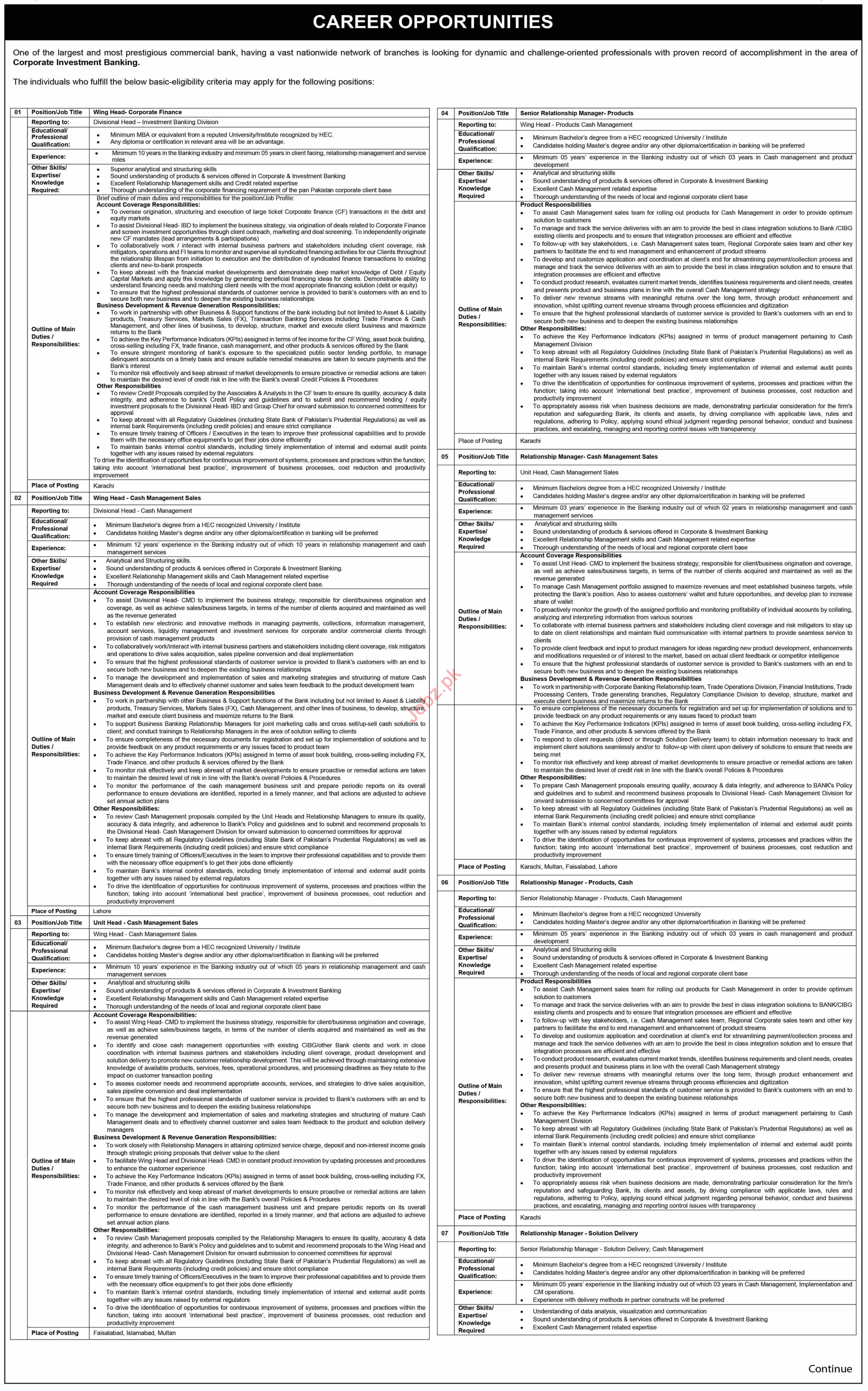 Wing Head Corporate Finance & Relationship Manager Jobs 2021
