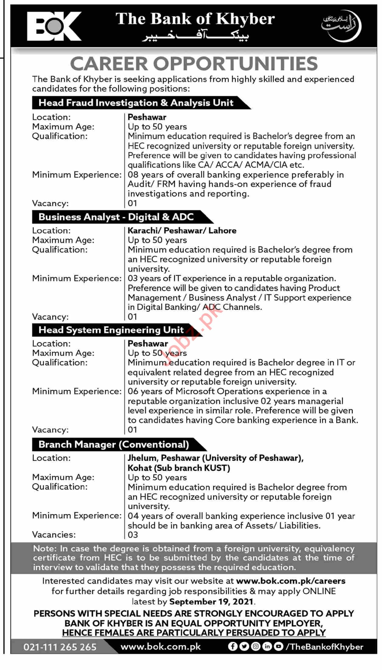 Bank of Khyber BOK Jobs 2021 for Head Fraud Investigation