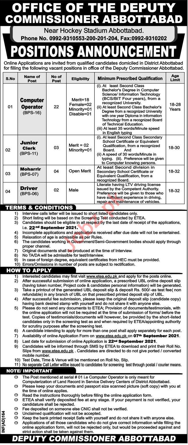 Deputy Commissioner DC Abbottabad Jobs 2021 Junior Clerk
