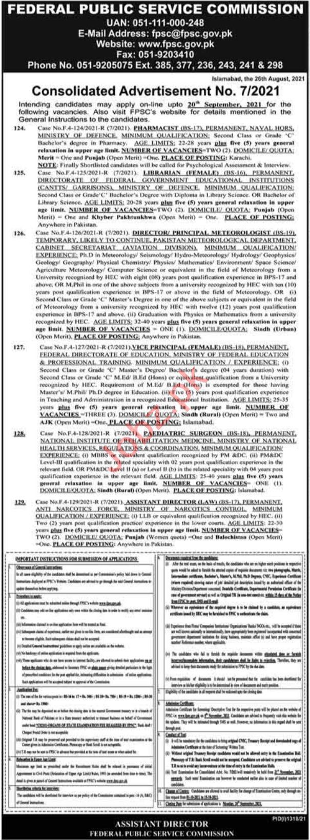 FPSC Islamabad Jobs 2021