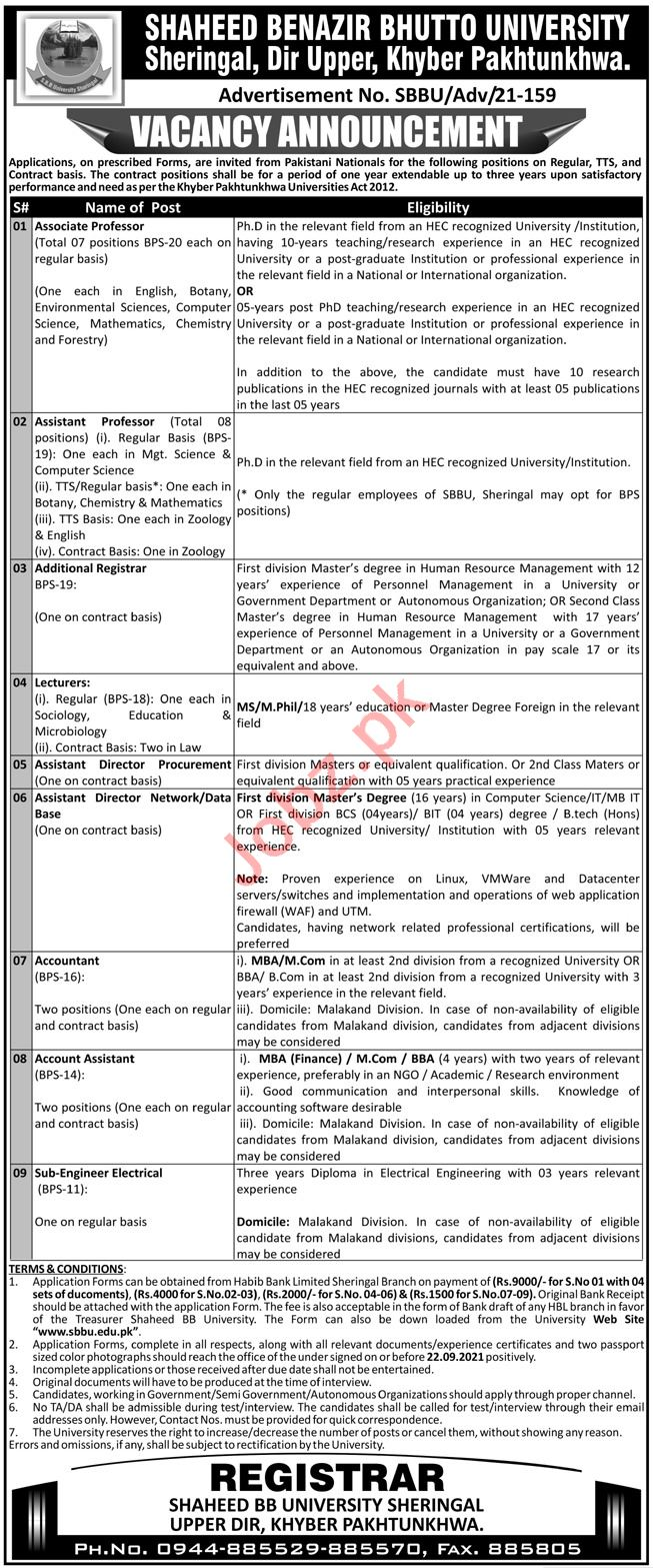 Shaheed Benazir Bhutto University SBBU Dir Upper Jobs 2021